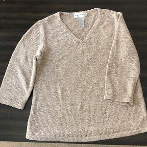 3/4 sleeve August Silk, tan sweater